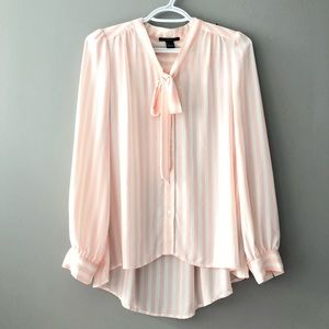 Pink and White Stripped Blouse with Tie Front